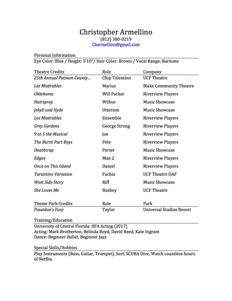 Black and White Theatre Resume